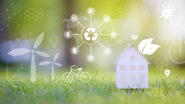 small white house green background with ecological conservation icons ecological development technology concept 33799 7425